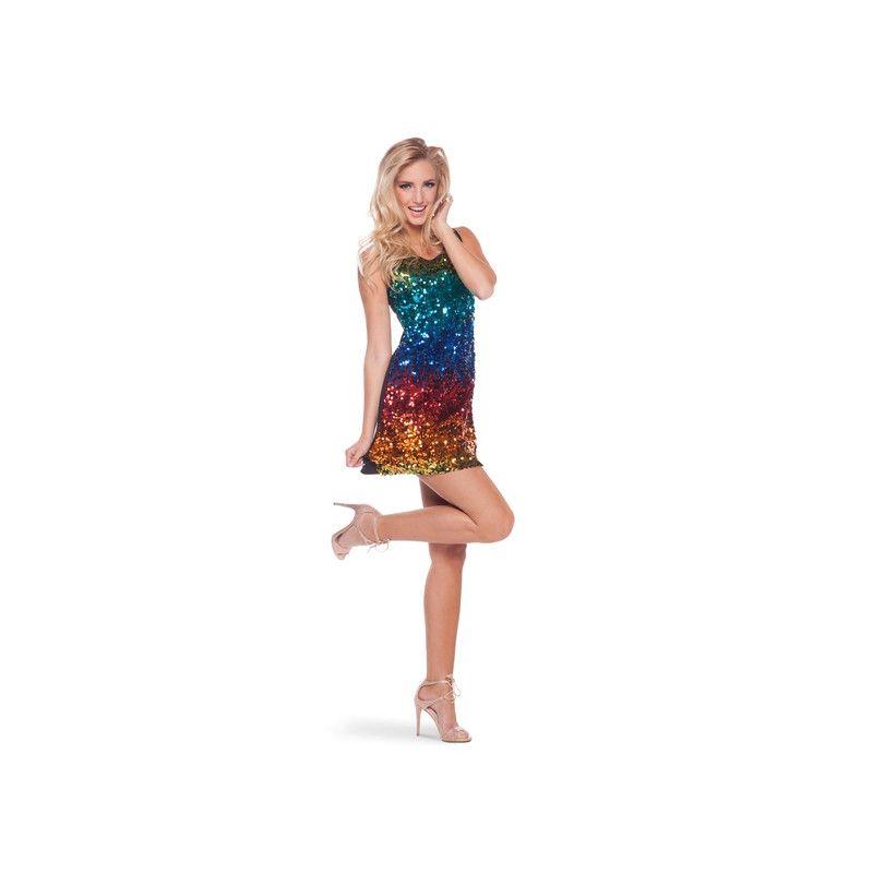 Déguisement robe disco paillettes arc-en-ciel femme Déguisements 220-