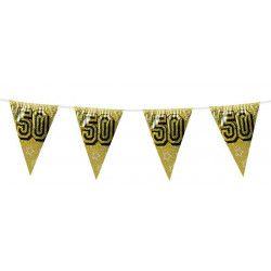 Déco festive, Guirlande de fanions holographique 50 ans, B30051, 2,40€