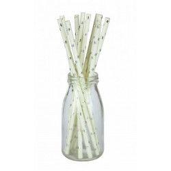 Déco festive, Lot 10 pailles blanches avec étoiles argent, 502903, 1,50€
