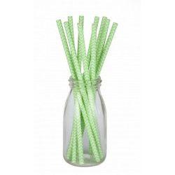 Déco festive, Sachet 10 pailles chevrons verts et blancs, 502900, 1,50€