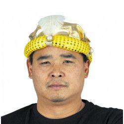 Chapeau sultan doré avec plume adulte Accessoires de fête 90413PRO
