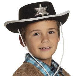 Chapeau cowboy feutre noir enfant Accessoires de fête 4030-