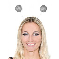 Accessoires de fête, Serre-tête antennes boules paillettes argent, AC2287ARGENT, 1,49€