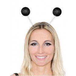Serre-tête antennes boules paillettes noires Accessoires de fête AC2287NOIR