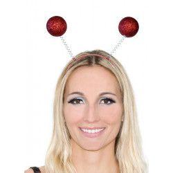 Accessoires de fête, Serre-tête antennes boules paillettes rouges, AC2287ROUGE, 1,49€