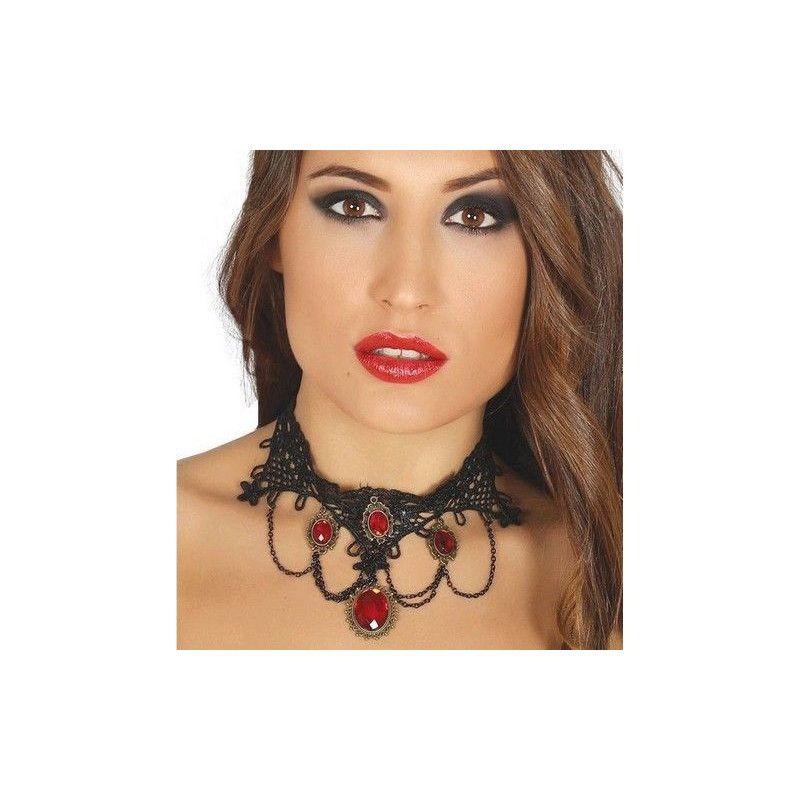 Collier vampire femme avec bijoux rouges Accessoires de fête 17224