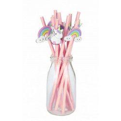 Déco festive, Lot 10 pailles roses baby licorne, 812525, 2,30€