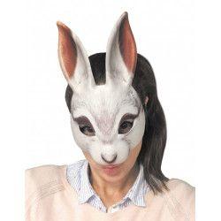 Masque de lapin blanc en plastique Accessoires de fête 865601