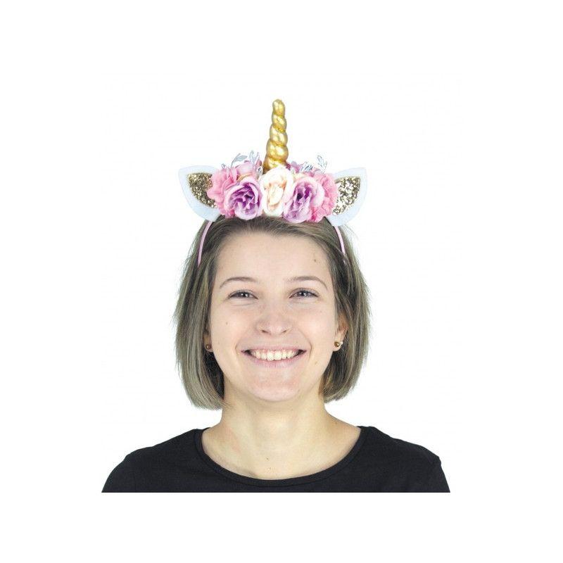 Serre-tête licorne paillette à fleurs Accessoires de fête 90824PRO