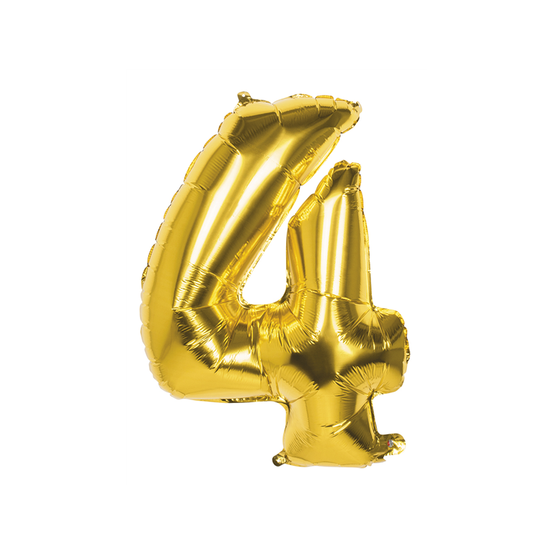 Déco festive, Ballon aluminium or 86 cm - Chiffre 4, 22024, 3,50€