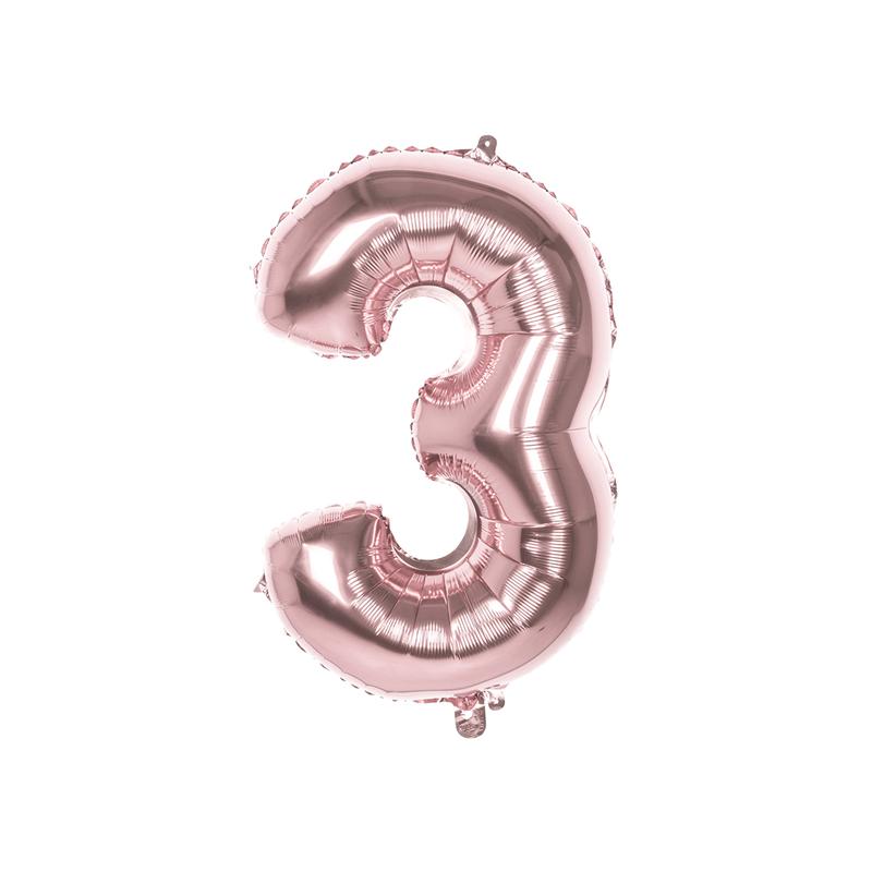 Ballon aluminium rose or 86 cm chiffre 3 Déco festive 22043