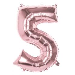 Ballon aluminium rose or 86 cm chiffre 5 Déco festive 22045
