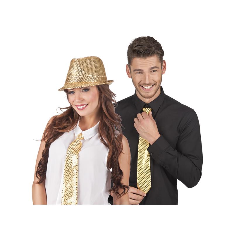 Accessoires de fête, Cravate sequin or, 52951, 3,90€