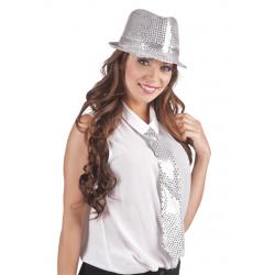 Cravate sequin argent Accessoires de fête 52952BO