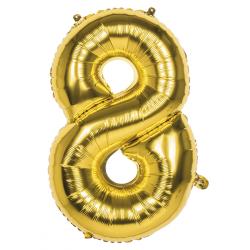 Déco festive, Ballon aluminium or 86 cm - Chiffre 8, BO22028, 3,50€