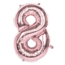 Déco festive, Ballon aluminium rose or 86 cm - Chiffre 8, BO22048, 3,50€
