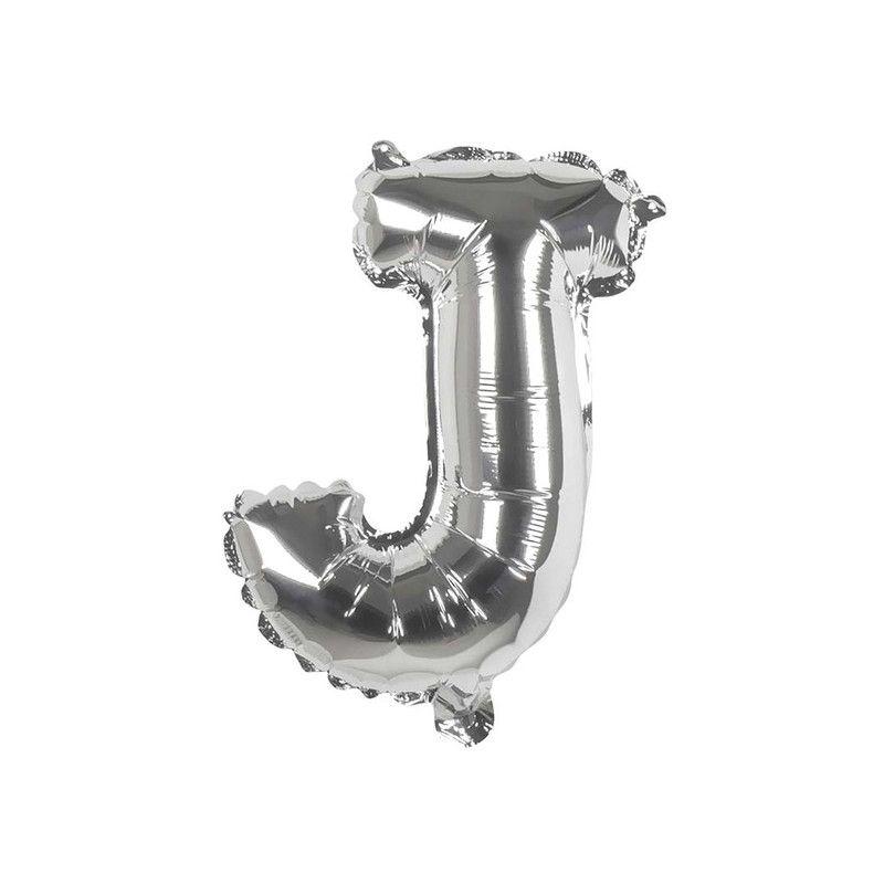 Ballon aluminium argent 36 cm lettre J Déco festive 22109