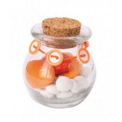 Pot rond en verre avec bouchon en liège Déco festive 15332