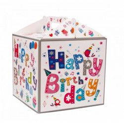 Déco festive, Boîte carton Happy Birthday 28x28x26cm, 31347, 7,90€