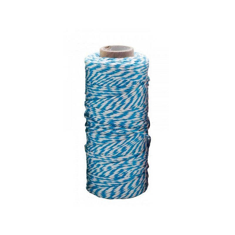 Rouleau ficelle Twine 100 mètres - bleu/blanc Déco festive 71855