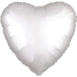Ballon métallisé coeur satin blanc 43 cm Déco festive 3859001