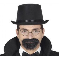 Barbichette et moustache noires avec adhésif Accessoires de fête 11963