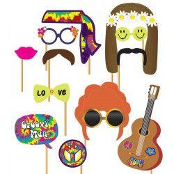 Set photobooth hippie 12 pièces Accessoires de fête 7204