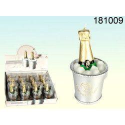 Déco festive, Bougie bouteille et seau à champagne, 181009, 3,40€