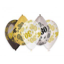 Déco festive, Sachet 10 ballons métallisés multicolores 30 cm chiffre 30, BA21473, 3,90€