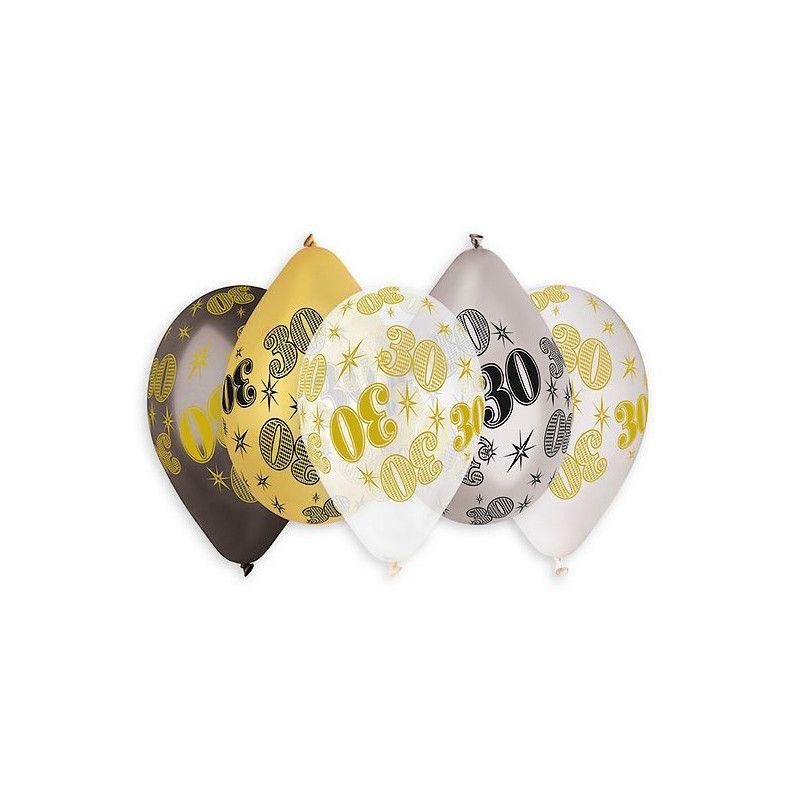Sachet 10 ballons métallisés multicolores 30 cm chiffre 30 Déco festive BA21473