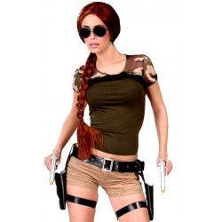 Double holster de cuisses Lara avec pistolets Accessoires de fête 18130