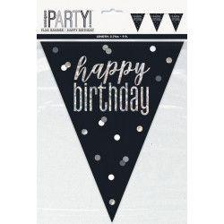 Guirlande fanions Happy Birthday 2.7 m noir et argent Déco festive U83421