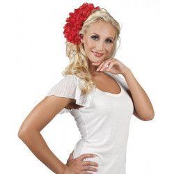 Grosse fleur dahlia rouge pour cheveux Accessoires de fête 52444