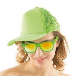 Casquette fluo UV réfléchissante - Verte Accessoires de fête 0700124-VF