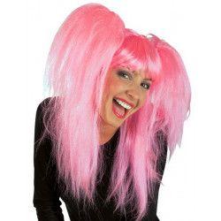 Perruque avec couettes rose bonbon adulte Accessoires de fête 71474