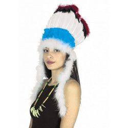 Accessoires de fête, Coiffe indienne Sitting Bull bleue et blanche, 85212, 7,50€