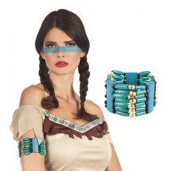 Bracelet bleu squaw indienne Accessoires de fête 44128