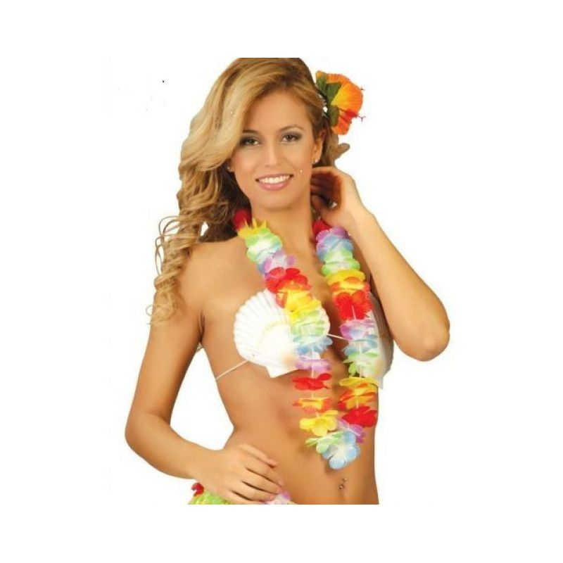 Collier hawai avec fleurs multicolores Accessoires de fête 18324
