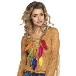 Collier plumes multicolores indienne Accessoires de fête 64514