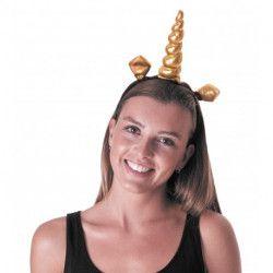 Serre-tête noir licorne or Accessoires de fête 87302