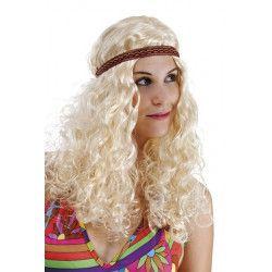 Perruque hippie frisée femme avec bandeau - blonde Accessoires de fête 68650CLOWN
