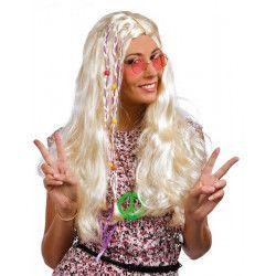 Perruque hippie raide femme avec tresse - blonde Accessoires de fête 68651CLOWN