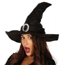 Chapeau sorcière noire simili cuir Accessoires de fête 13106GUIRCA