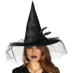 Chapeau sorcière noir avec fleur Accessoires de fête 13148