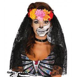 Diadème fleurs et voile noir Jour des Morts Accessoires de fête 19956