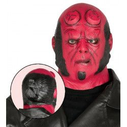 Masque démon rouge latex Accessoires de fête 2384