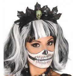 Serre-tête feuilles noires et tête de mort Accessoires de fête 26144