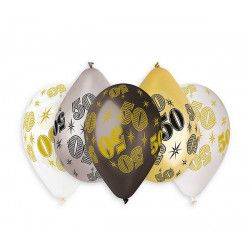 Sachet 10 ballons métallisés 30 cm multicolore chiffre 50 Déco festive BA21475