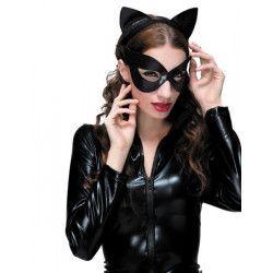 Set loup et serre-tête chat sexy noir Accessoires de fête 888012
