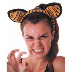 Serre-tête tigre velours Accessoires de fête 33369
